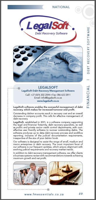 Financial Mail entered into a strategic partnership and represents LegalSoft South Africa